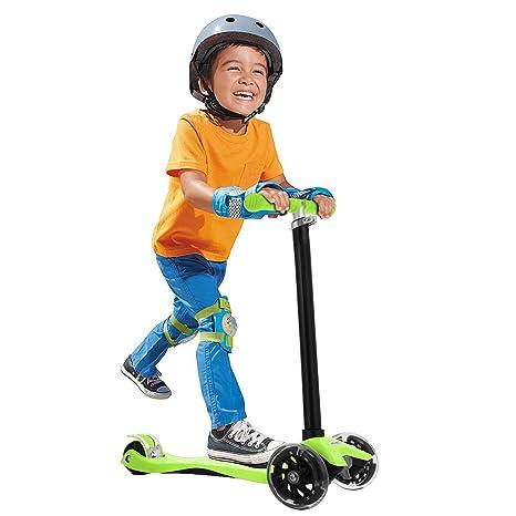 FastDirect Patineta Patinetes para Niños más de 3 años 4 Ruedas con luces Scooter de Aleación