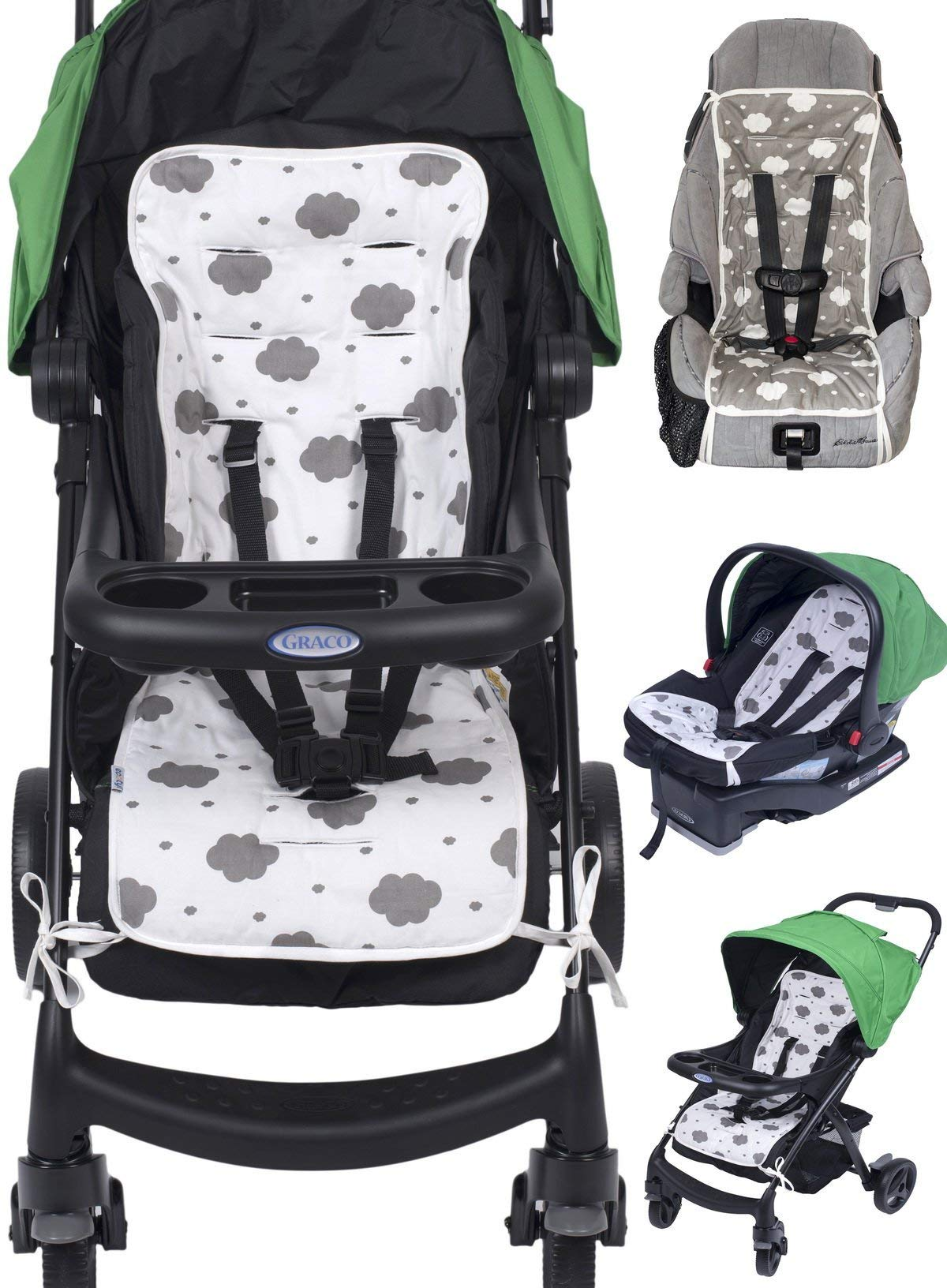 Reversible Pure Cotton Universal Baby Seat Liner for Stroller, Car Seat, Jogger, Bouncer | Thick Cushion | Supports Newborns, Infants, and Toddlers | Quick and Easy Install by Ecotyl
