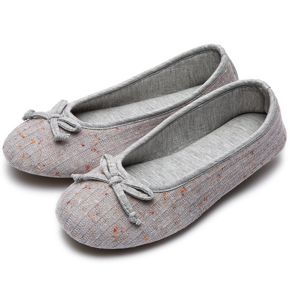 Women's Comfy Colored Knit Memory Foam Ballerina House Slippers Shoes with Anti-Slip Rubber Sole (Medium/7-8 B(M) US, Gray)