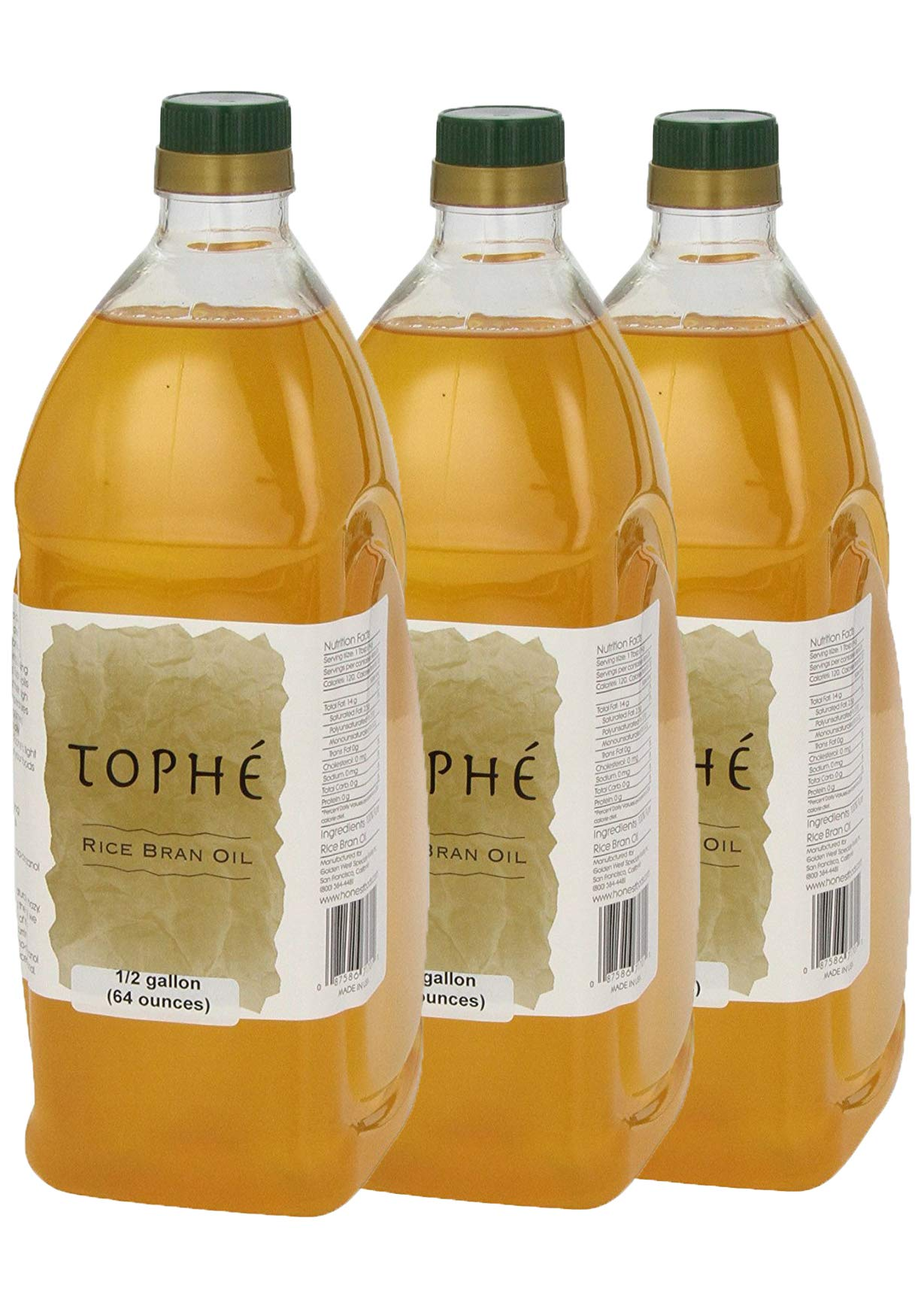 RICE BRAN OIL   All Natural, Made from 100% USA Grown Non GMO Rice   Rich in Vitamin E and Gamma-Oryzanol   Unfiltered, Non Winterized, No Trans Fat and Heart Healthy   3-Pack 1/2 Gallon By Tophé