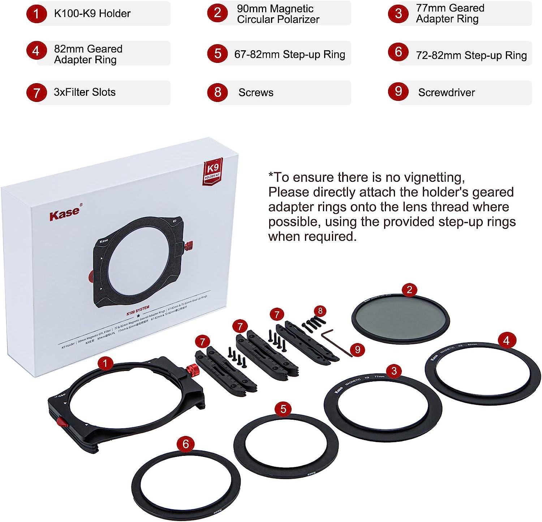 Kase K9 Slim 100mm Filter Holder Kit Includes Magnetic CPL /& 67mm 72mm 77mm 82mm Adapters