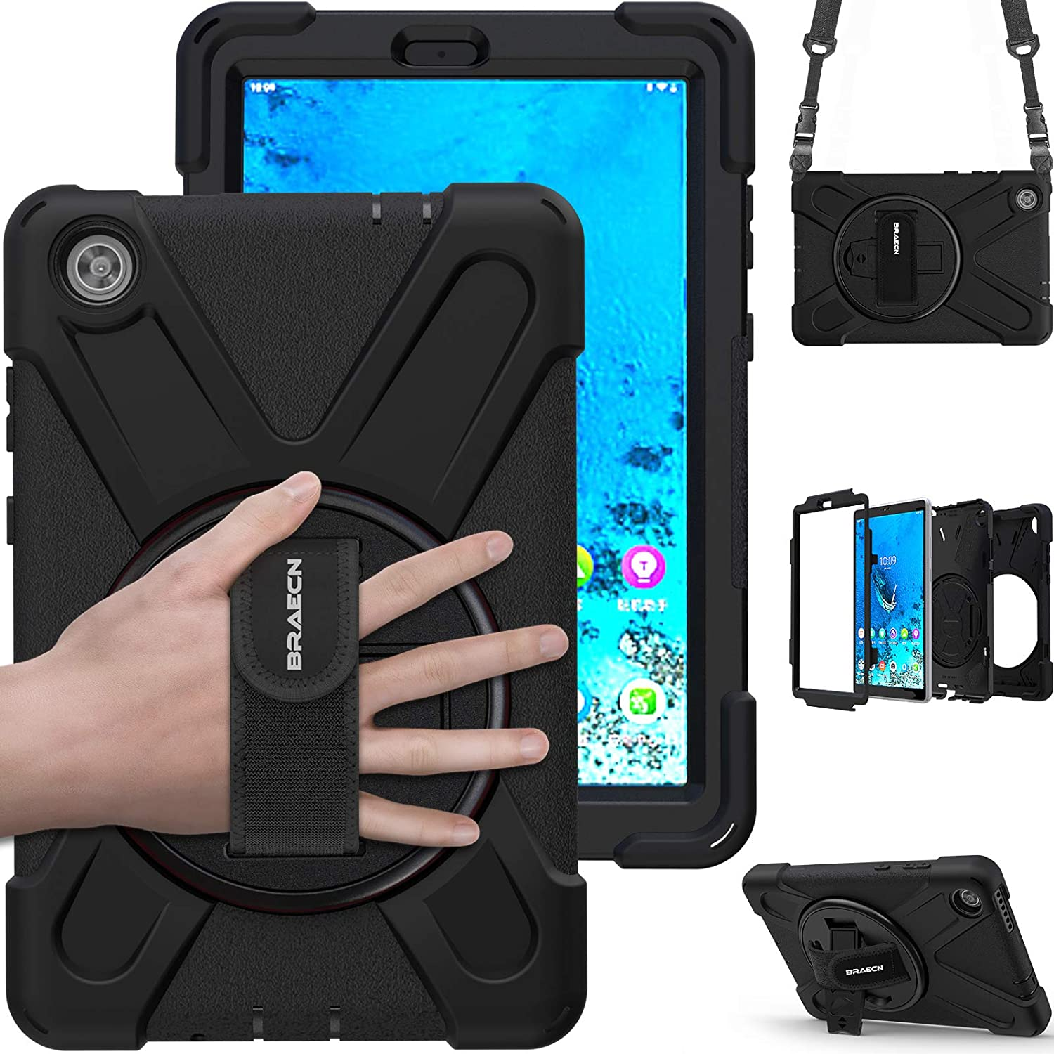 BRAECN Lenovo Smart Tab M8 Case, Heavy Duty Rugged Shockproof Hard Case with Carrying Shoulder Strap, Handle Hand Strap, Built-in Kickstand for Lenovo Tab M8 8.0 Inch HD Tablet TB-8505F/8505X-Black