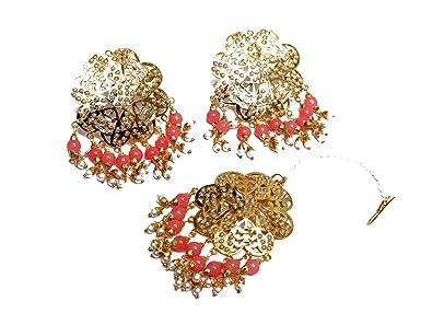 ee390c1dd Amazon.com: Gold Jadau Peach Pink Pearl Punjabi Muslim Stud Earrings ...