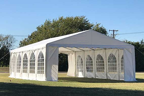 Amazon Com 32 X16 Pe Party Tent White Heavy Duty Wedding Canopy Carport Shelter With Storage Bags By Delta Canopies Storage Sheds Garden Outdoor