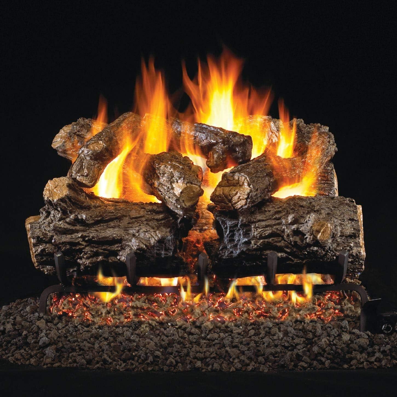 Peterson Real Fyre 24-inch Burnt Rustic Oak Gas Log Set With Vented Natural Gas G45 Burner – Match Light
