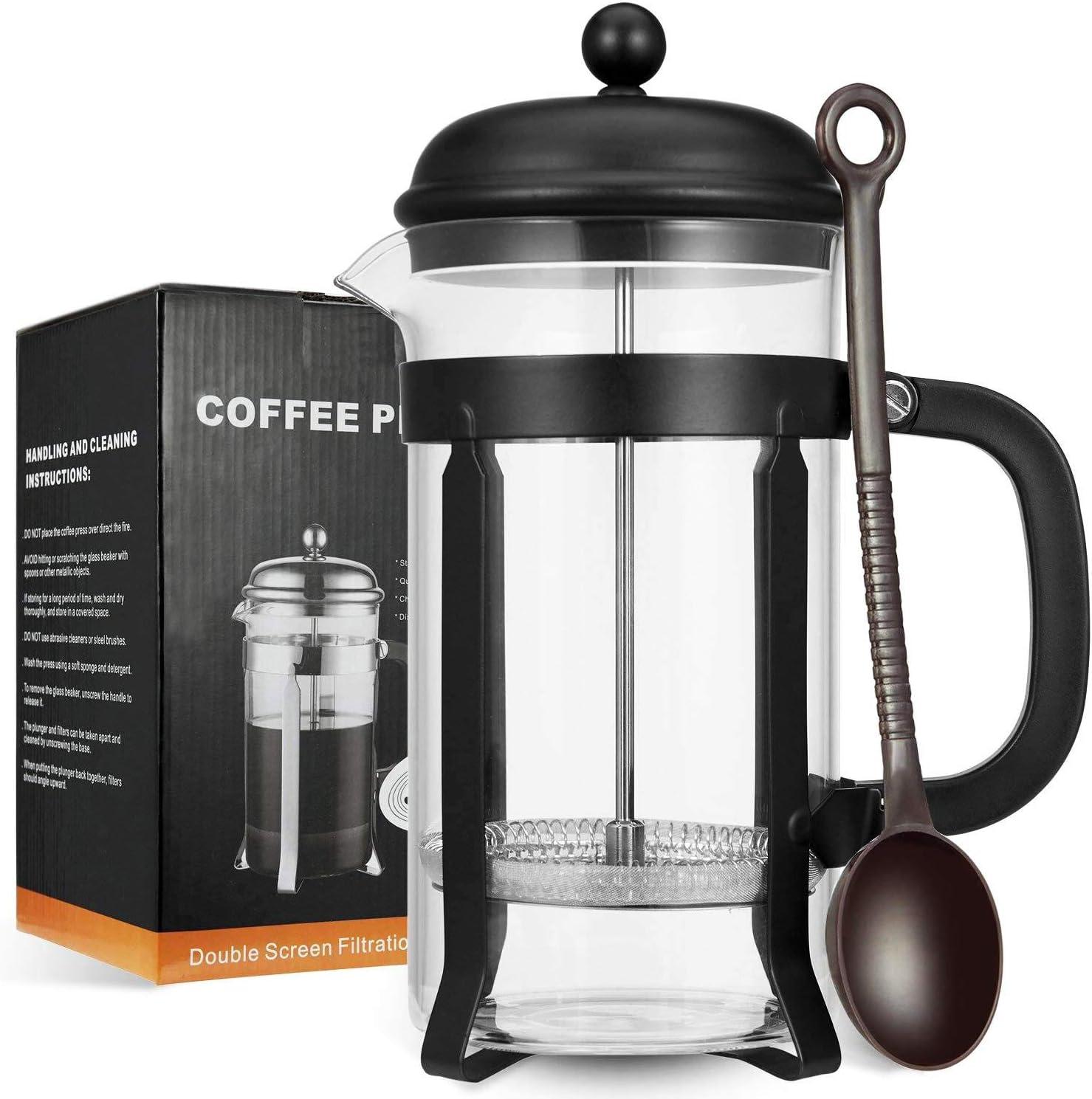 MeetU FDA 304 - Cafetera de acero inoxidable sin BPA, para café, vaso de borosilicato: Amazon.es: Hogar