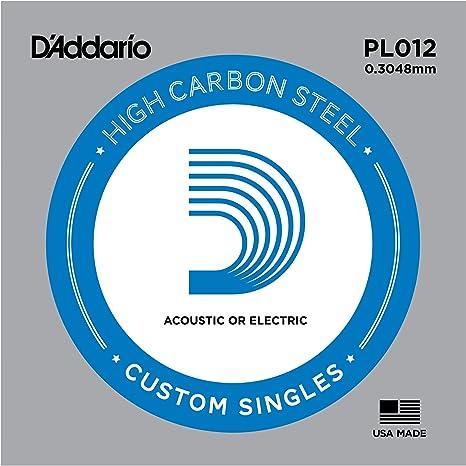 DAddario PL012 - Cuerda individual de acero liso para guitarra ...