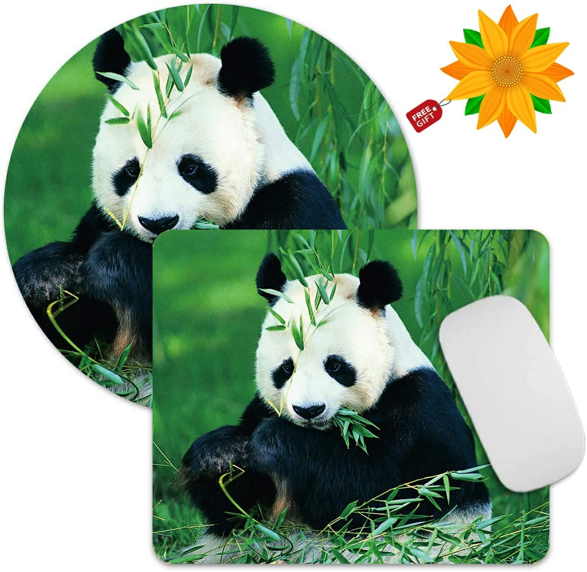 2 Pack Gaming Mouse Pad Animals Panda Bears Mousepad Non-Slip Rubber Rectangle Round Mouse Pads Office Accessories Desk Decor Mouse Mat for Computers Laptop + Sunflower Stickers
