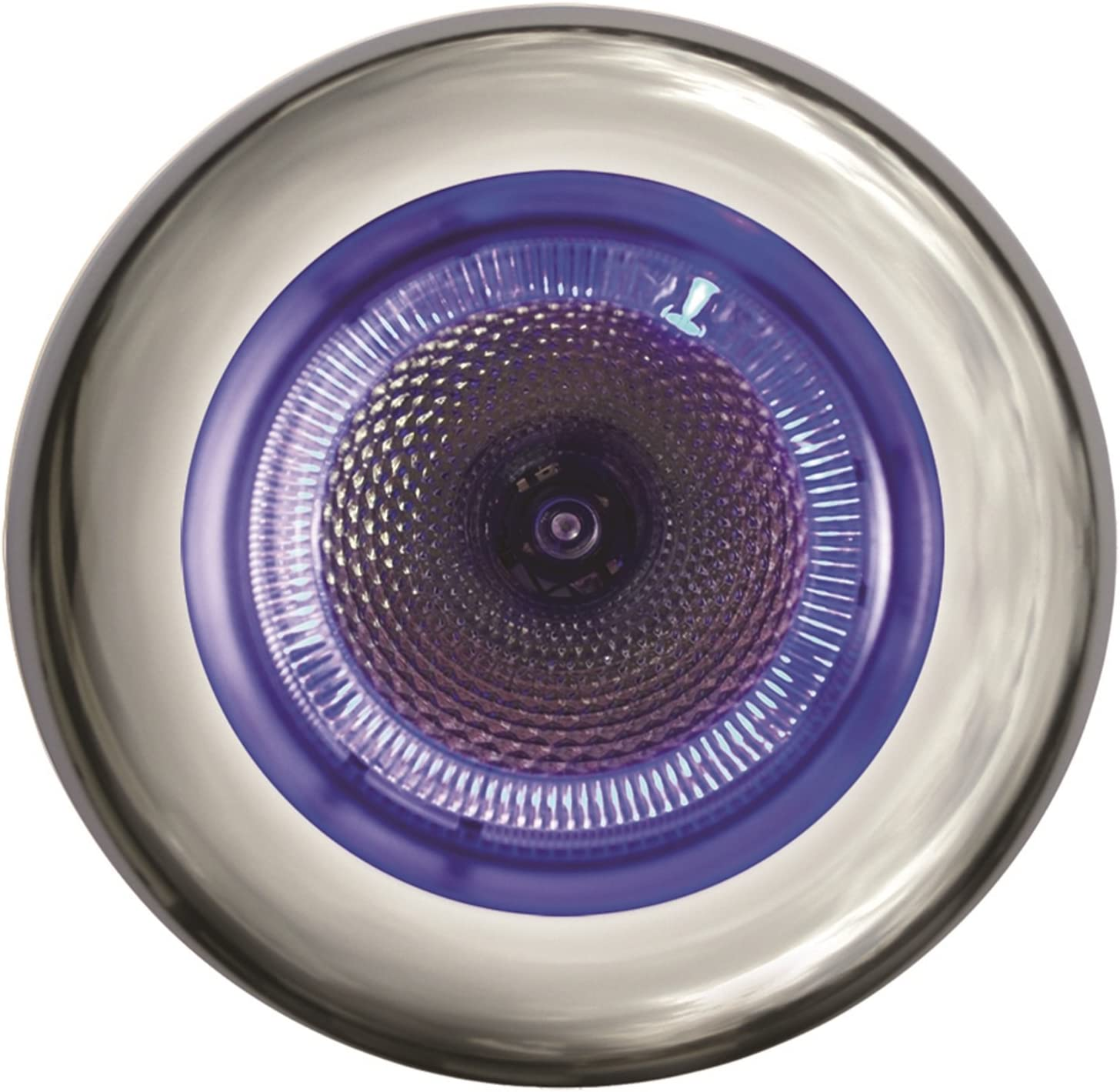 HELLA 343980152 3980 Series SpotLED Multivolt White 9-31V DC Dual Color LED Interior Light with Blue Ambient Light Ring and Stainless Steel Rim