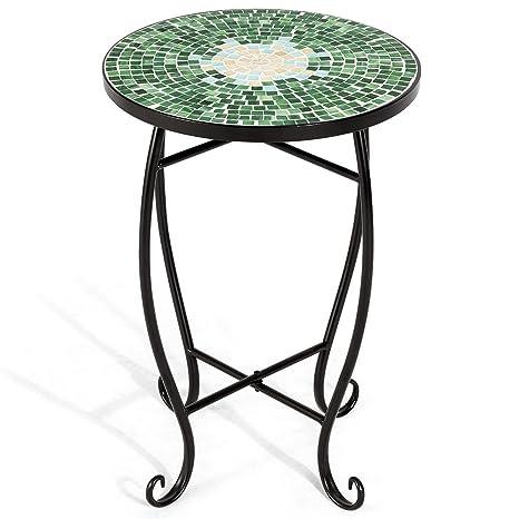 de38861cd238 Amazon.com   Custpromo Mosaic Accent Table Metal Round Side Table Plant  Stand Cobalt Glass Top Indoor Outdoor Garden Patio Table (Bella Green)    Garden   ...