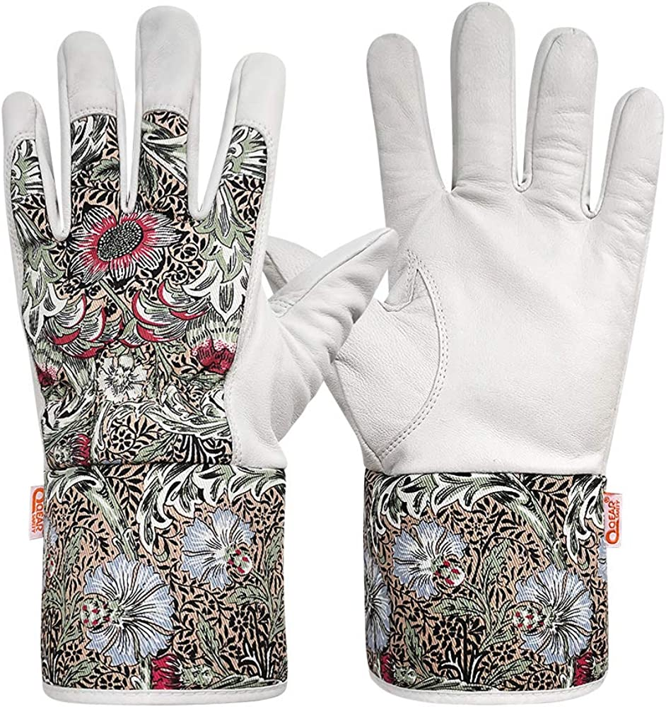 1 pair Qear Lady Garden Work Gloves, Premium Goat Leather Palm, Cotton Back, and Safety Cuff for Wrist and Lower Arm Protection, Thorn Resistance