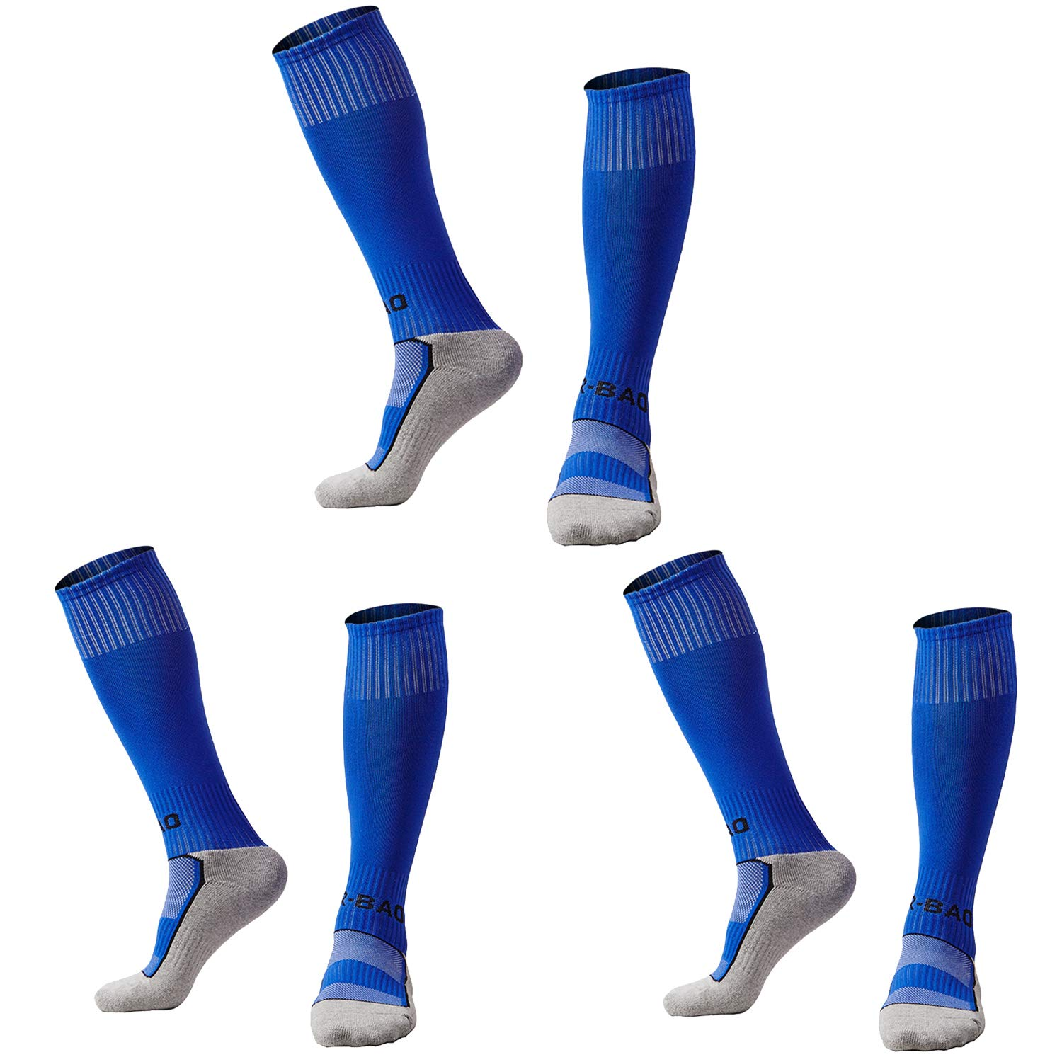 Kids Youth Soccer Socks Knee High Cotton Towel Bottom Sport Compression Long Tube Football Socks for Boys/Girls 3xBlue -S