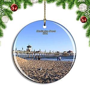 Weekino USA America Huntington Beach Orange County Christmas Xmas Tree Ornament Decoration Hanging Pendant Decor City Travel Souvenir Collection Double Sided Porcelain 2.85 Inch