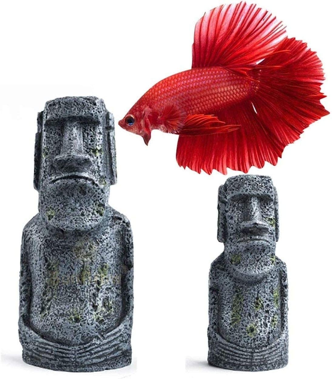 Sunken Wreck Fishing Aquarium Décor - Give Rustic and Vintage Look to Your Water Tank - Fish Tank Cave for Healthy Environment - Durable Resin Material - Aquarium or Home Decor (Betta Moai Decor)