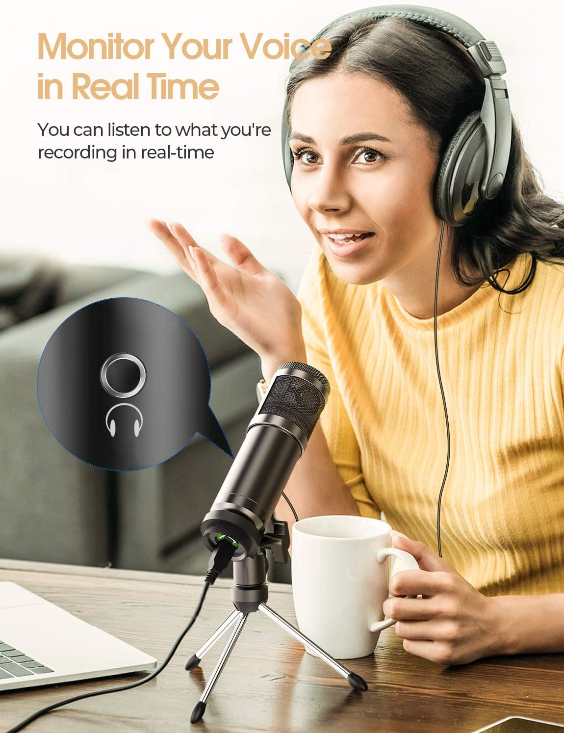 Podcast Youtube Microfono a Condensatore Riproduzione Vocale e Multimediale in Streaming Microfono USB Plug-And-Play per Giochi
