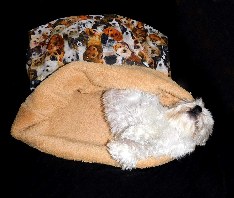 LunaChild Hunde Kuschelhöhle allover Digitaldruck Hundebett Name Snuggle Bag Größe S M oder L