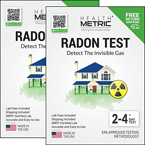 Radon Test Kit for Home – Shipping Lab Fees Included Easy to Use Charcoal Radon Gas Detector for Testing 2 Locations 48h Short Term EPA Approved Radon Tester Fully Certified Lab Testing