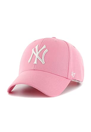 d92051cfbb7 47 Brand Cap - Mlb New York Yankees Mvp Curved V Struct fit pink white  size  Adjustable  Amazon.co.uk  Clothing