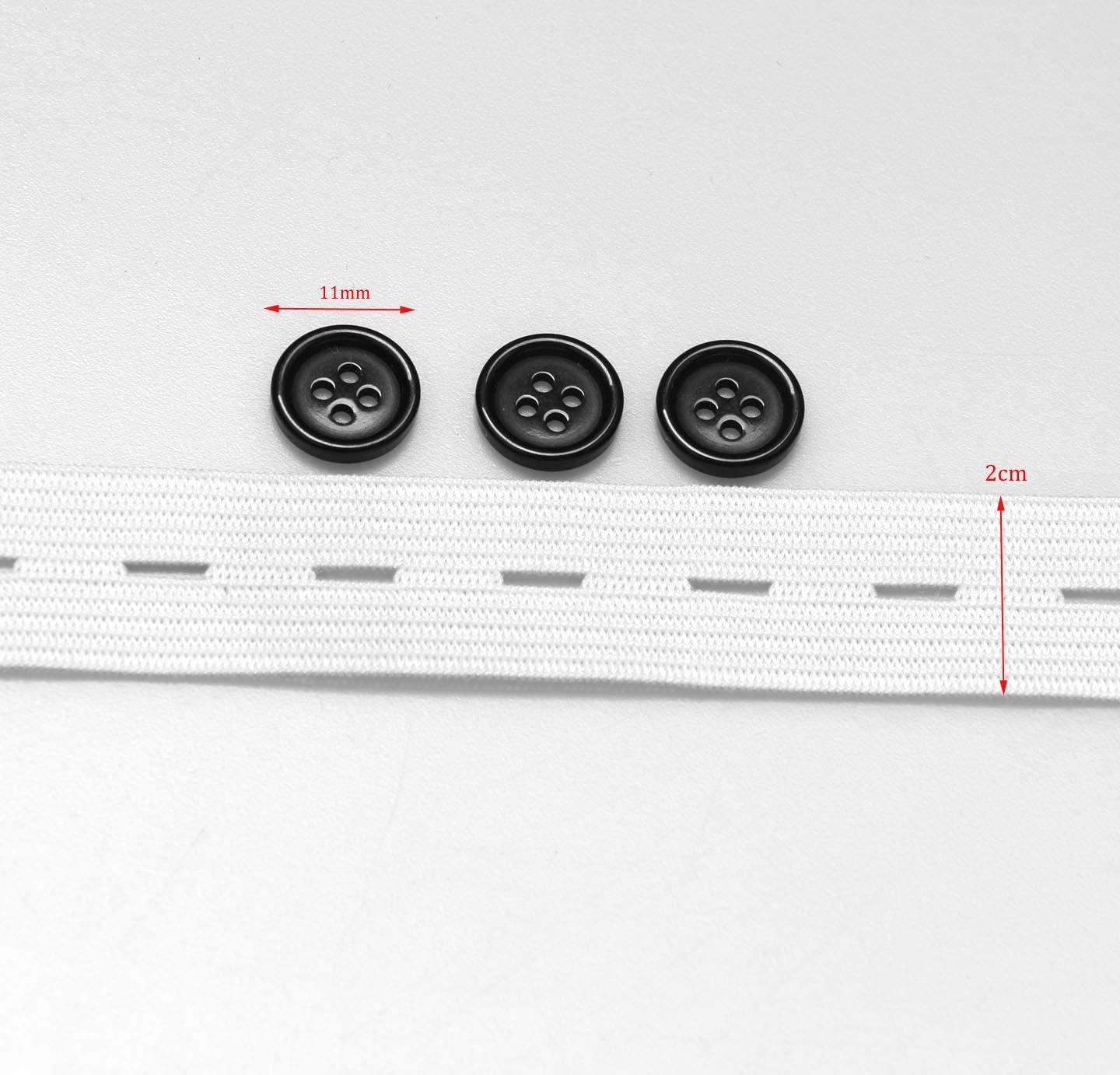 3//4 by 5Yds White Buttonhole Elastic Spool with 10pcs Black Resin Buttons Heavy Duty Adjustable Pant Button Extenders