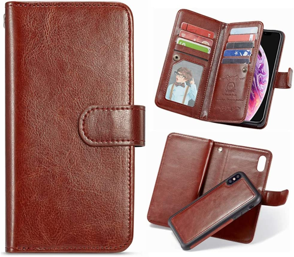 Positive Cover Compatible with iPhone Xs red PU Leather Wallet Flip Case for iPhone Xs