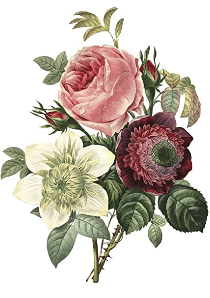 A5 Flower Shabby Chic Vintage Decal Decorative Stickers For Furniture,  Walls And Other Flat Surfaces
