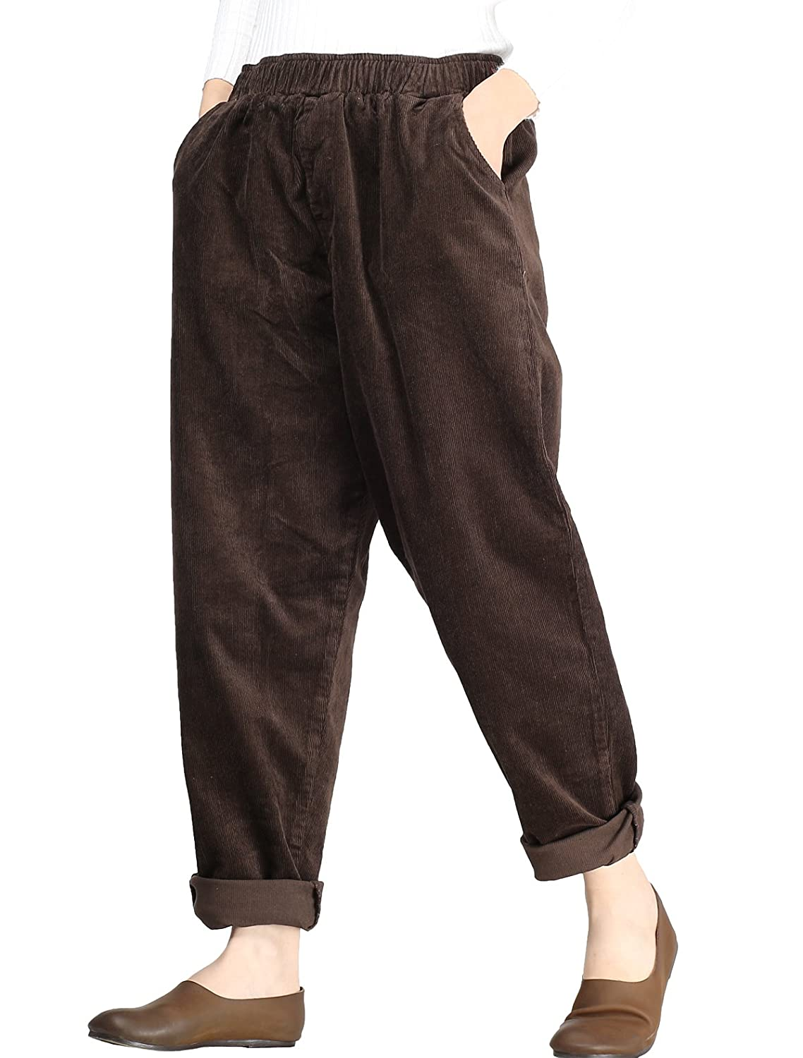 Mordenmiss Women's Fall/Winter Casual Corduroy Pants Pockets