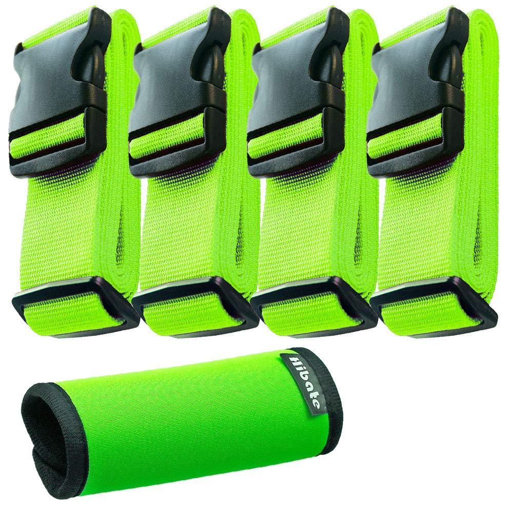 Hibate (4_Green) Luggage Straps Belts and (1_Green) Neoprene Suitcase Handle Wrap Grip Tags by Hibate
