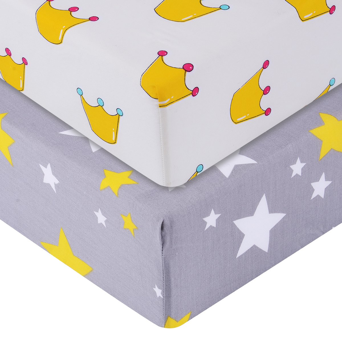 Final Home 2-Pack Pre-washed 100% Cotton Muslin Fitted Crib Sheet 52 x 28 (Star & Crown) Yichang PuLuSiTe