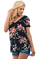 Shopglamla Classic Full Floral Print Short Sleeves Top Tee Blouse Made in USA