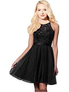 Sarahbridal Prom Dresses Short Halter Tulle Party Dress for Women SSD430