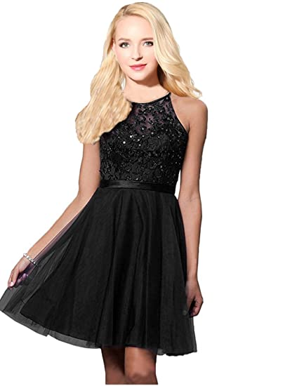 Sarahbridal Women Short Gown Prom Dresses Tulle Party Dress with Applique SSD430 Black Size UK 6
