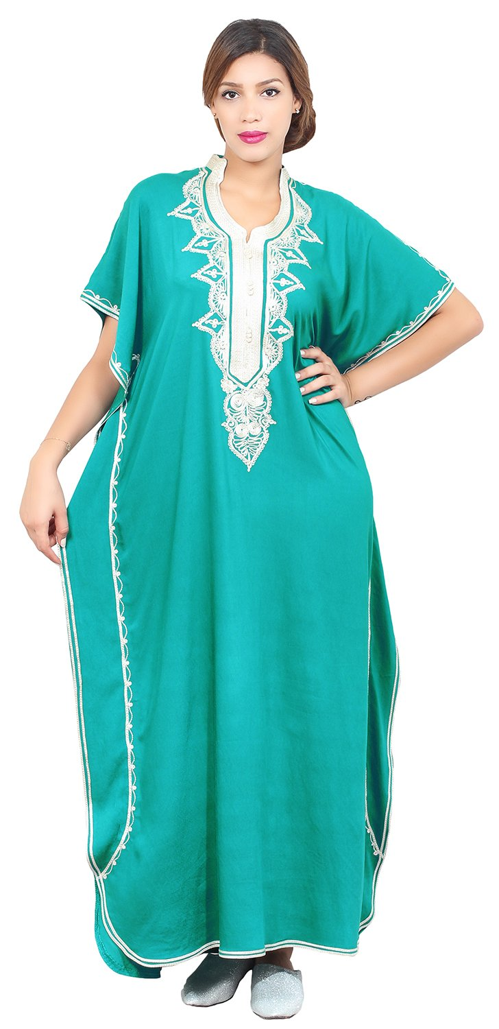 Moroccan Caftan Hand Made Top Quality Breathable Cotton with Hand Embroidery Long Length Green