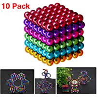 5MM 216Pcs Magnetic Balls 5 Colors DIY Shape Magic Beads Kids Toy Desk Sculpture Toy Provides Relief for Office Stress, ADHD, Autism, and Anxiety (Colorful)