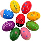 Easter Wooden Egg Shakers Maracas for Party Favors, Classroom Prize Supplies and Percussion Musical Instrument(9 PCS)