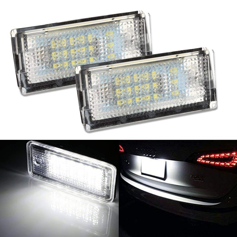HSUN LED License Number Plate Lamp, 18LEDs SMD3528 Chip Built in CANBUS Error Free, 6000K White, 2 Pack