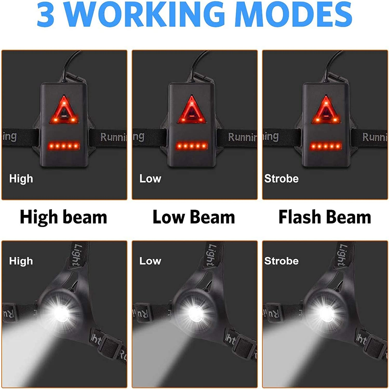 Ricaricabile Tramite USB per corridori Impermeabile Torace a LED Impermeabile Passeggiate con Il Cane con 3 modalit/à Anecity Lampada da Corsa a LED di Sicurezza Regolabile