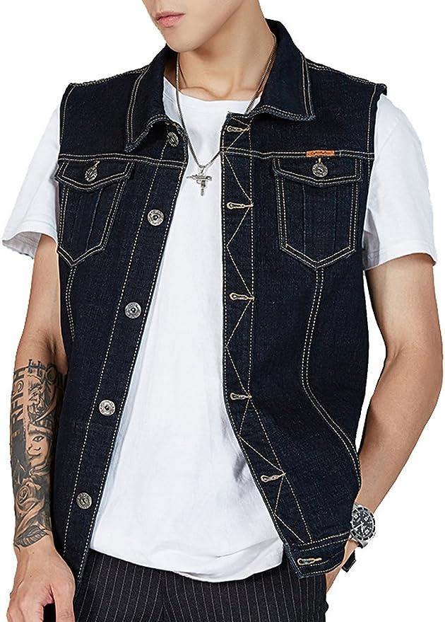 Z/&A Mens Lapel Button-Down Denim Vest Sleeveless Jean Jackets Plus Size 3XL