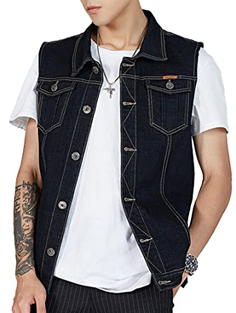6132157ecfd2a Kedera Men s Denim Vest Plus Size Button Down Jeans Vests Jacket 3XL Black
