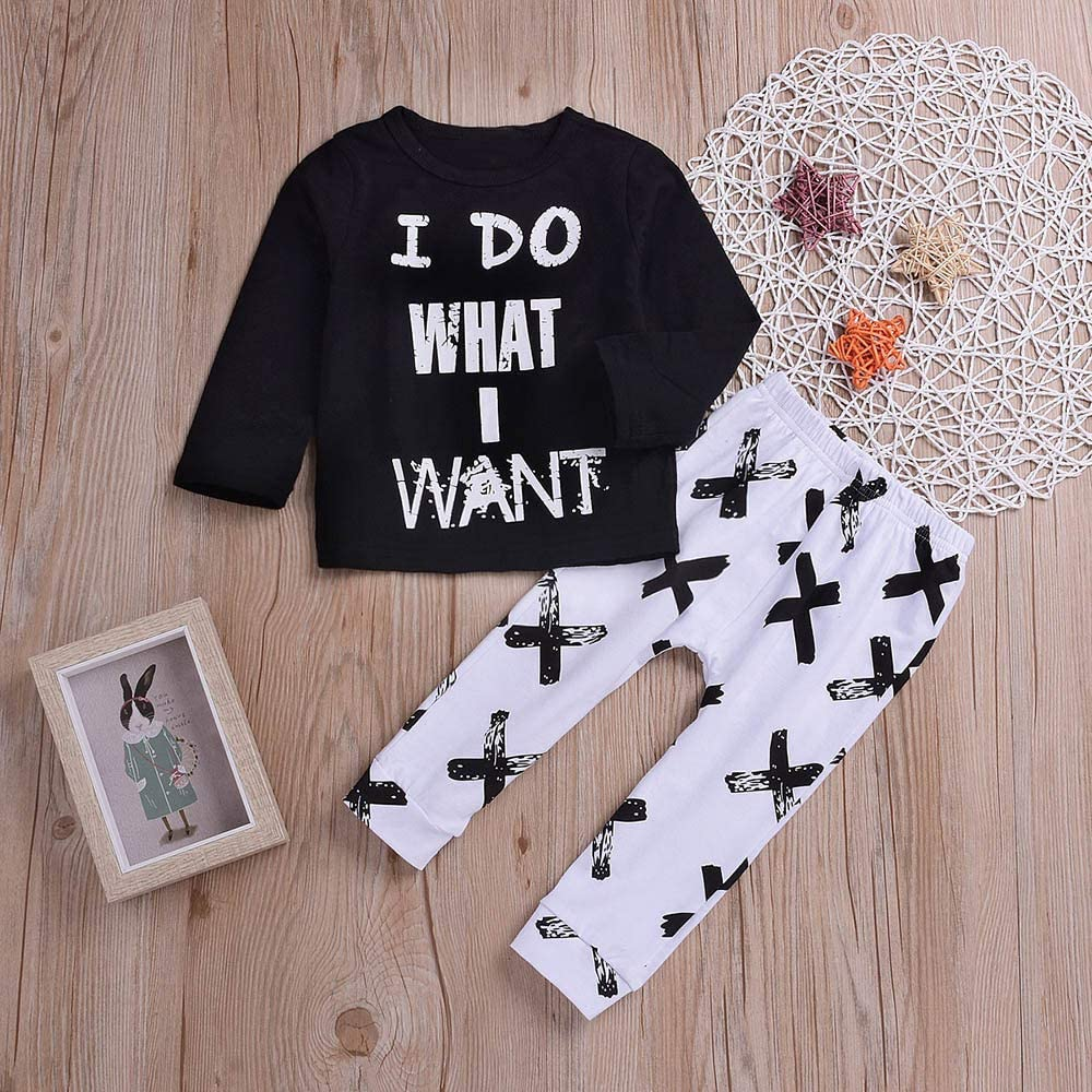 Cross Pants Outfit Hipster/Winter Warm Baby Boys Costume Set Long Sleeves I DO What I Want T-Shirt