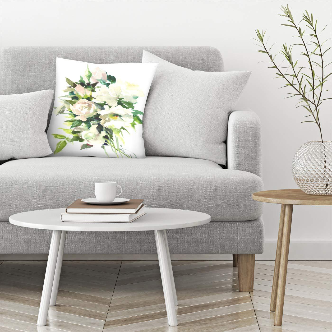 Amazon.com: american flat rosas blancas almohada por Suren ...