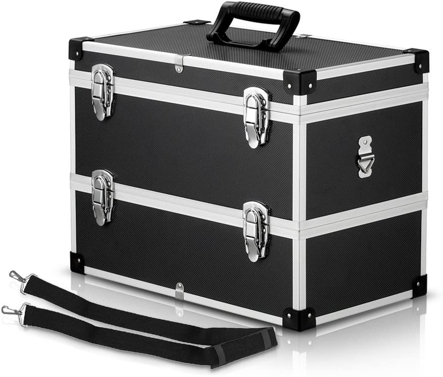 IKAYAA Caja de Herramienta de 2 Capas con Asa y Cinturón Maletin Aluminio Multiuso para Coche Casa … (2capas): Amazon.es: Hogar