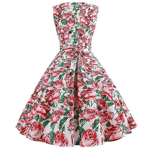 Women Dress Godathe Women Vintage Sleeveless O Neck Evening Printing Party Prom Swing Dress S-2XL at Amazon Womens Clothing store: