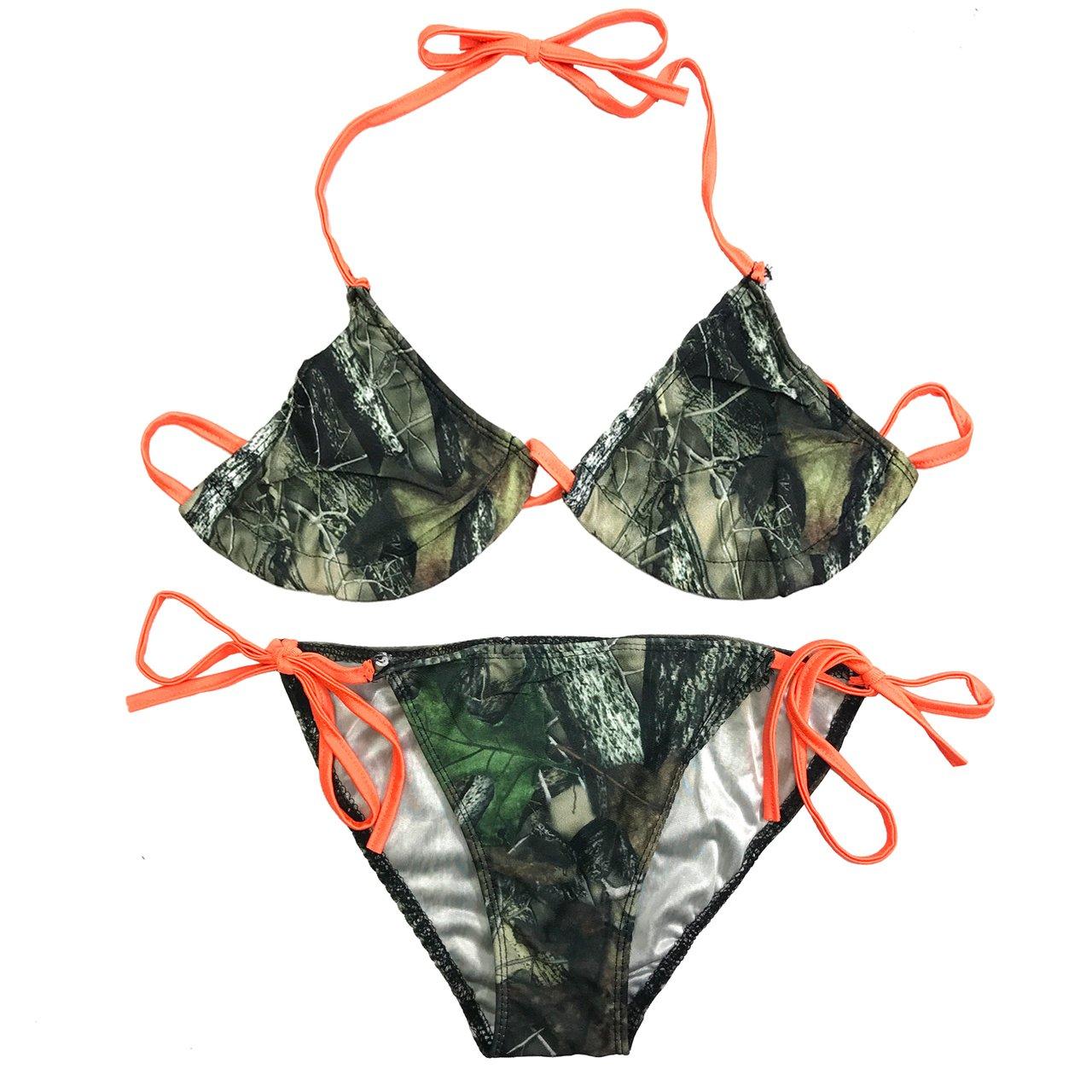 Orange String Camouflage Bikini Top and Bottom Camo Swimsuit Southern Designs