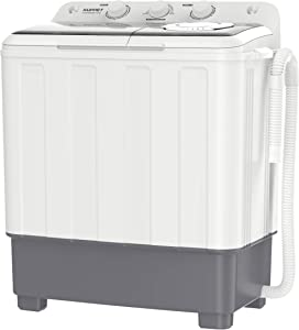 KUPPET Portable Compact Mini Washing Machine,Twin Tub 26.4 lbs Capacity,Washer(17.6lbs)&Spiner(8.8lbs),Built-in Drain Pump/Semi-Automatic,(White&Grey)