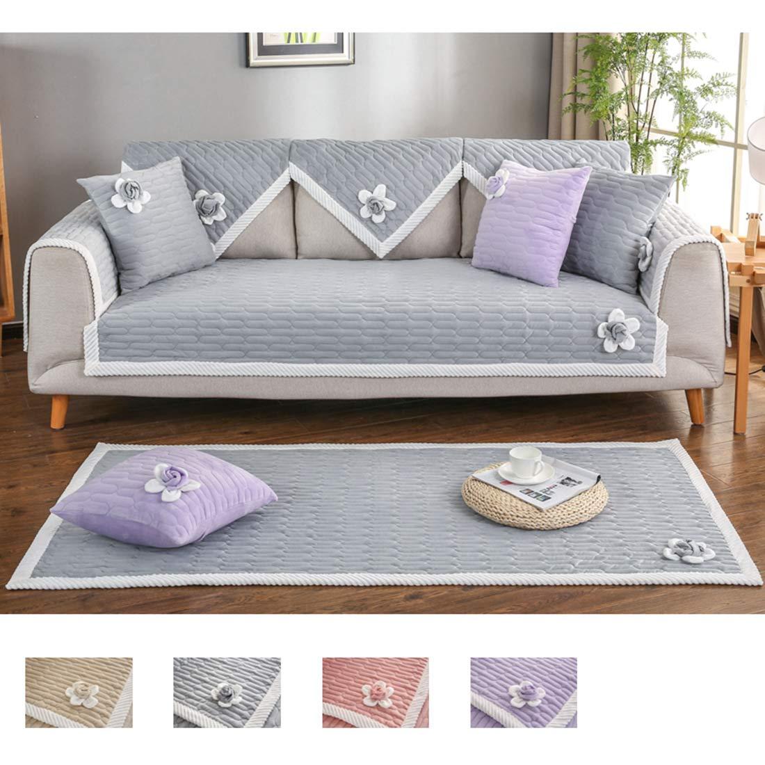 Royhom Velvet Minky Lovely Flowers Slipcover Protects Furniture from Kids Pets | Backrest and Armrest Sold Separately | Grey 35'' x 94''