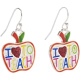 Artisan Owl - I Love to Teach Apple Enamel Dangle Teacher Earrings