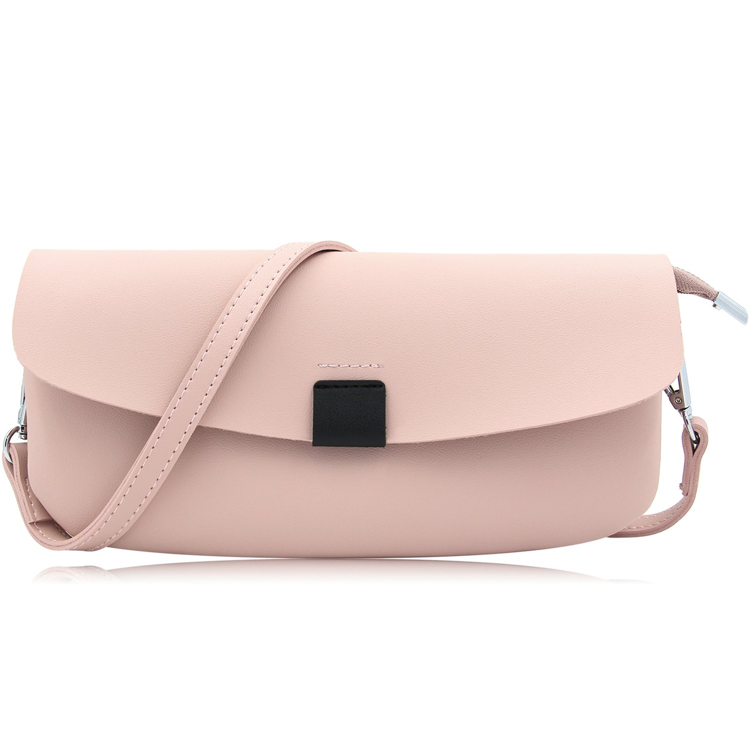 Oversized Faux Leather Clutches Women Casual Envelope Evening Clutch Bag Purses And Handbags With Wristlet And Shoulder Strap (Light Pink)