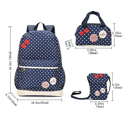 66142f7348 AHATECH Bambini Teen Carino Pois libro sacchetto di scuola zaino borsa 3pcs  borsa per Ragazze (blu scuro): Amazon.it: Scarpe e borse