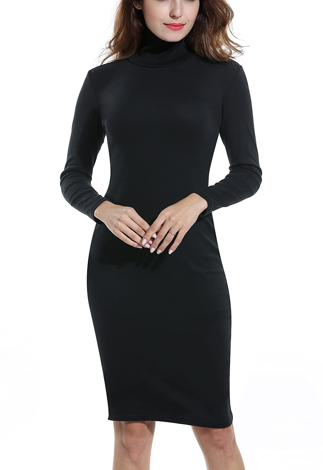977a430e98 ACEVOG Women s Turtleneck Ribbed Long Sleeve Knit Sweater Dresses at Amazon  Women s Clothing store