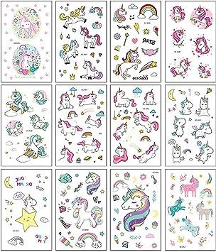 Tatuaggi per Bambini Unicorno 20 Fogli Tatuaggio Unicorno Impermeabile per Bambini Knowing Tatuaggi Temporanei di Unicorno Tatuaggi per Bambini per Decorazioni per Feste di Compleanno di Unicorno
